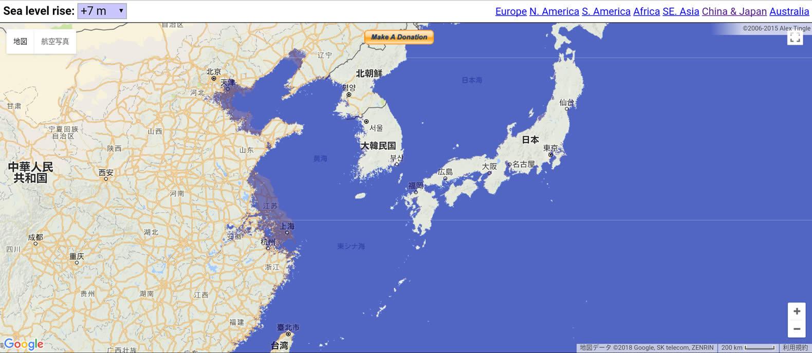 floodmapのアジアエリア