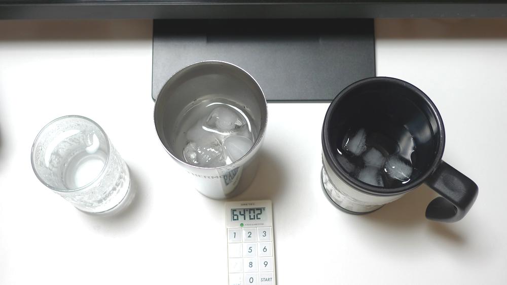 結露しない真空タンブラー・コップ・マグカップ比較60分経過上から撮影