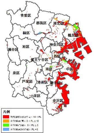 液状化マップの液状化分布図-南関東地震 横浜市