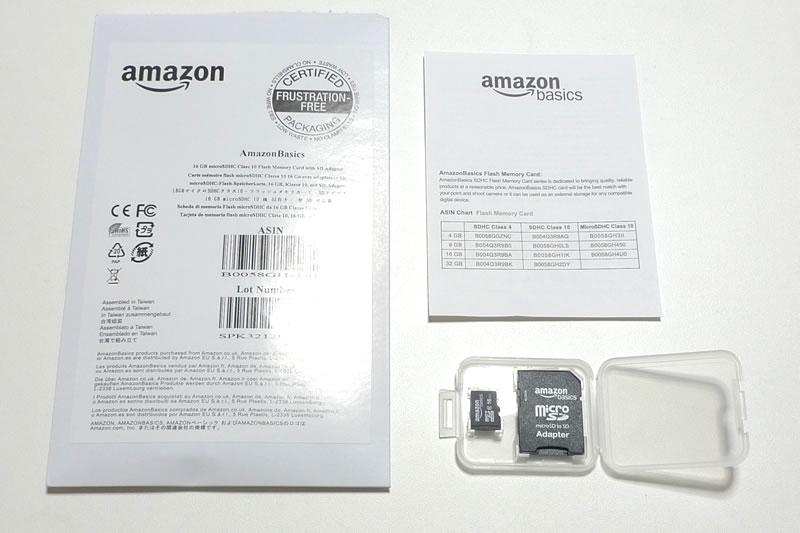 Amazonベーシック micro SDHCカード 16GBのパッケージを開けた様子