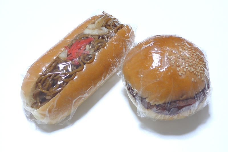木村屋ベーカリーの焼きそばパンとハンバーガー