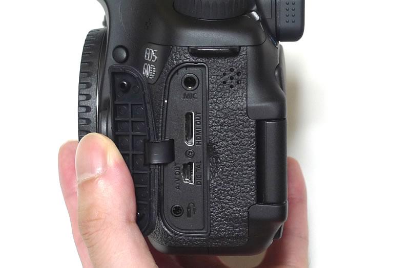 EOS 60D本体 左側端子カバーを外した状態