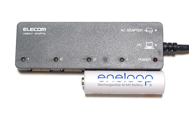ELECOM U2H-EG4SWH/U2H-EG4SBK本体と単三電池