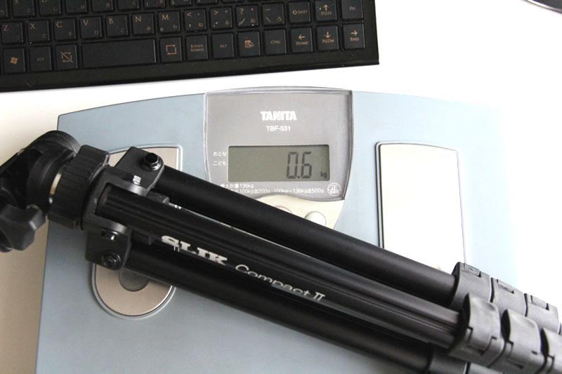 SLIK 小型三脚 コンパクト2の重さ