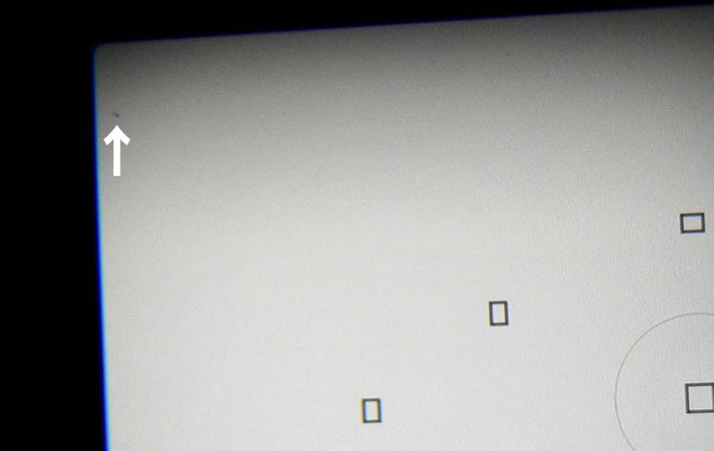 EOS 60Dファインダー指紋・すりガラスのような模様とゴミ