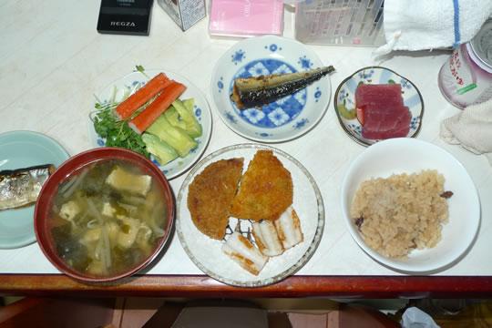 8月25日(日曜)の夕食 家族用