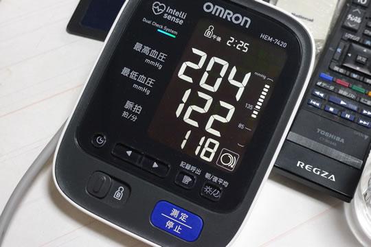 10月21日(月曜)の血圧測定結果