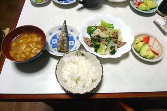 10月29日(火月曜)の夕食
