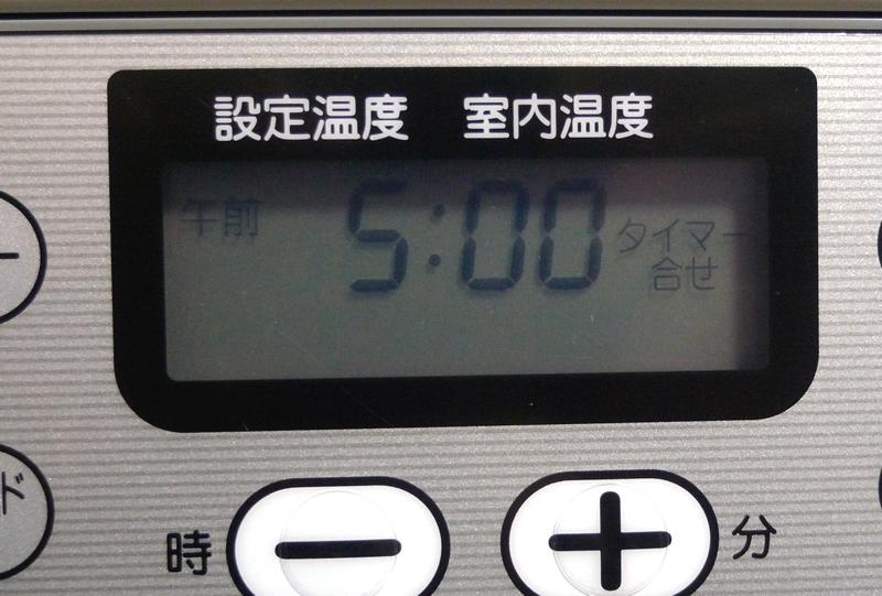 コロナ 石油ファンヒーター FH-G3214Y-Wの液晶パネルタイマー合わせ