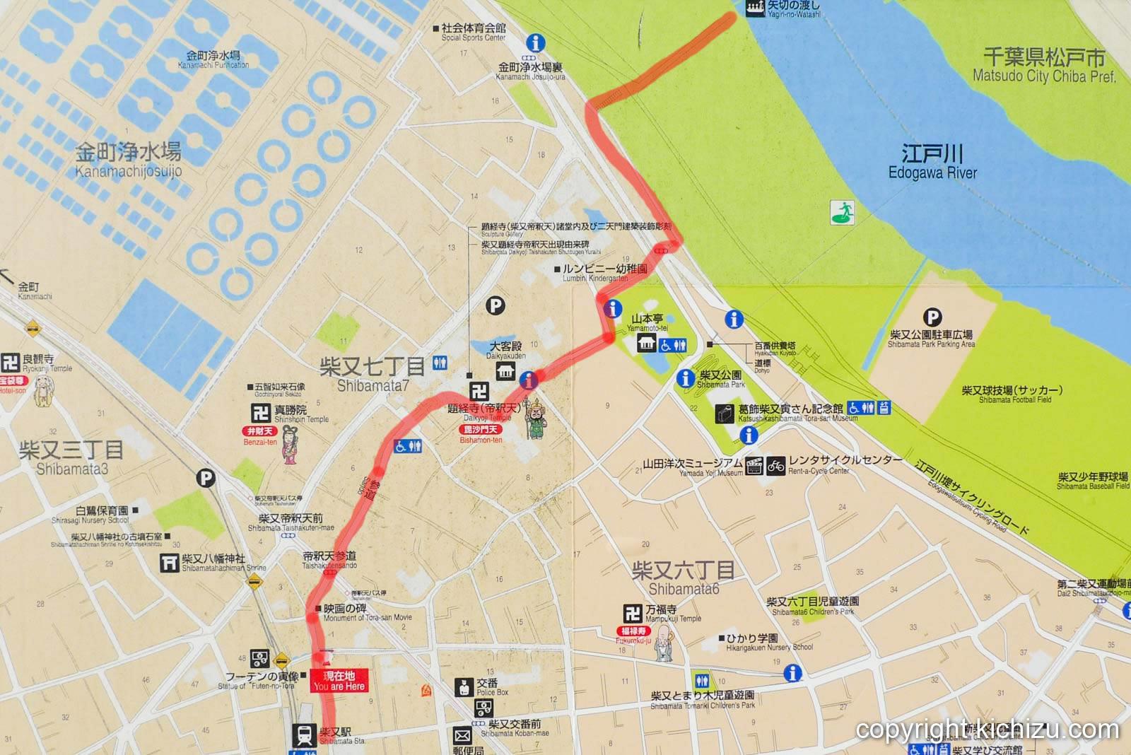 柴又駅から江戸川の矢切の渡しまでのルート