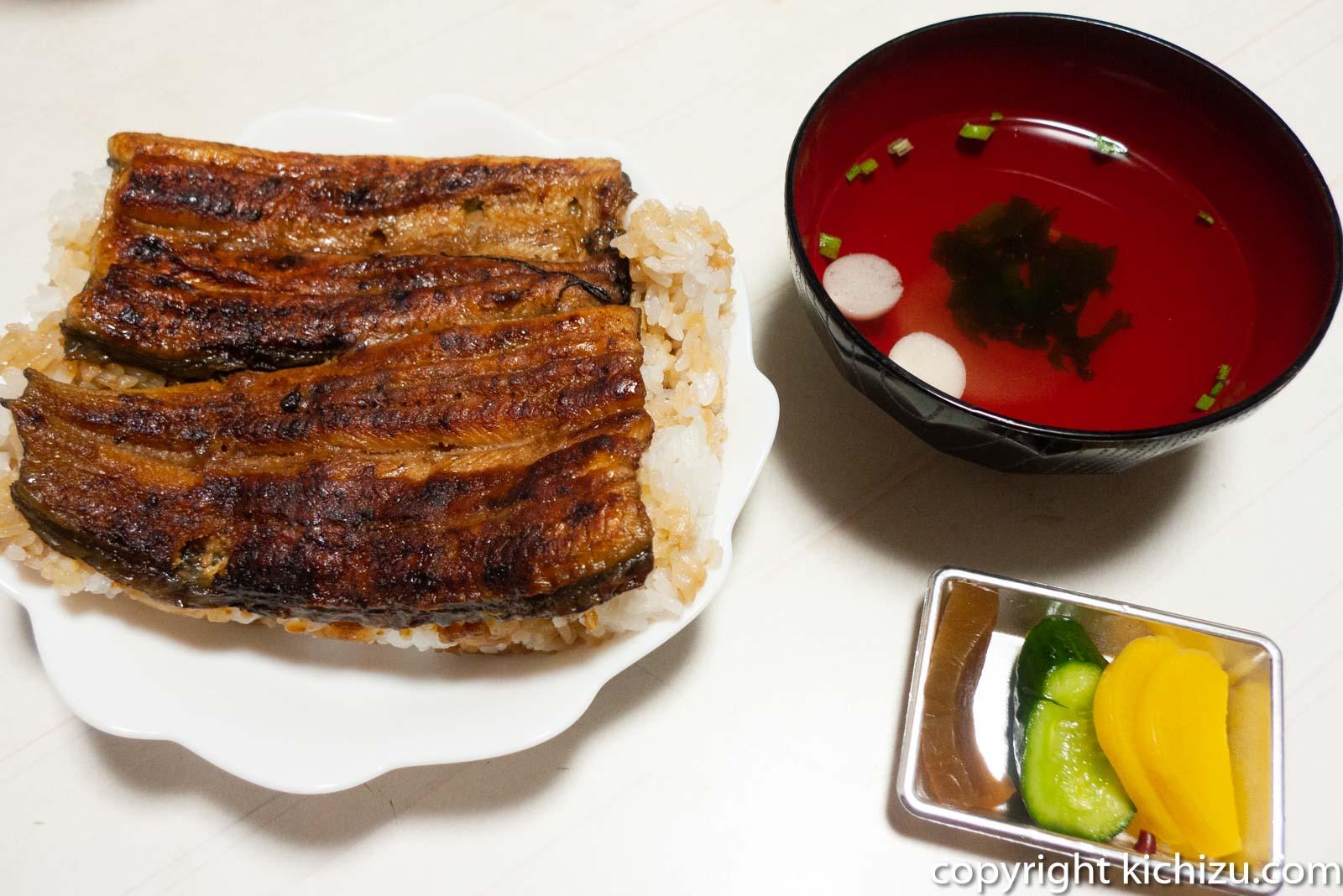 鰻重と味噌汁
