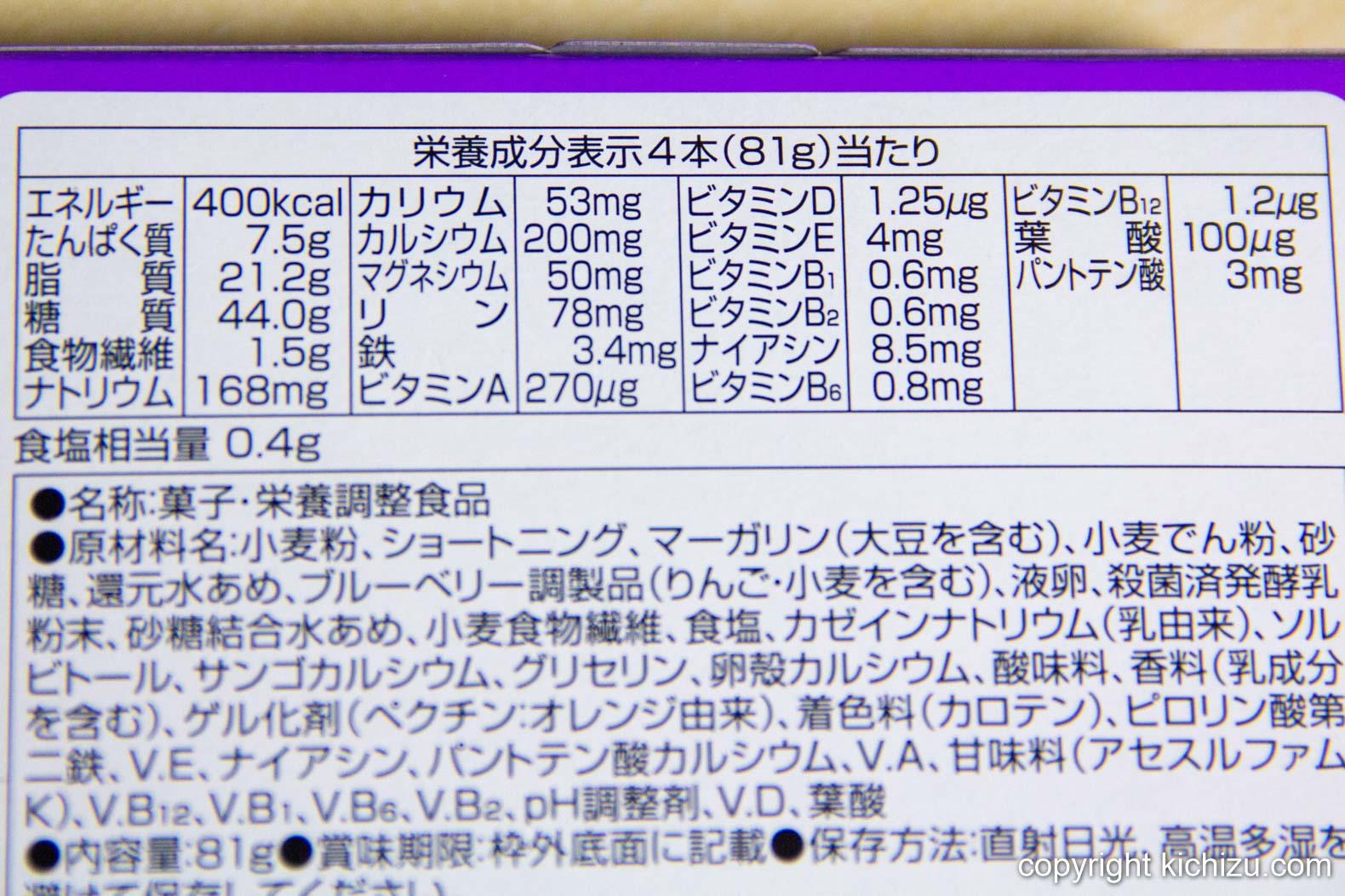 ライトミール ブロック しっとり ブルーベリーヨーグルト味の栄養成分表