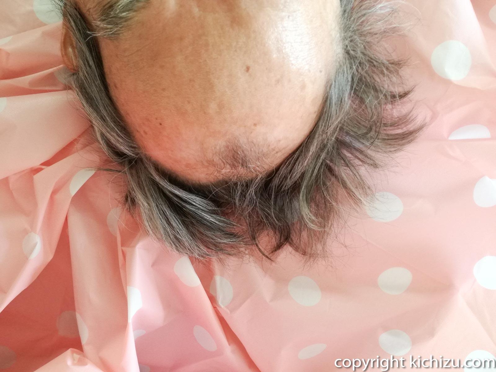 ダイソーの散髪ケープに頭を乗せる
