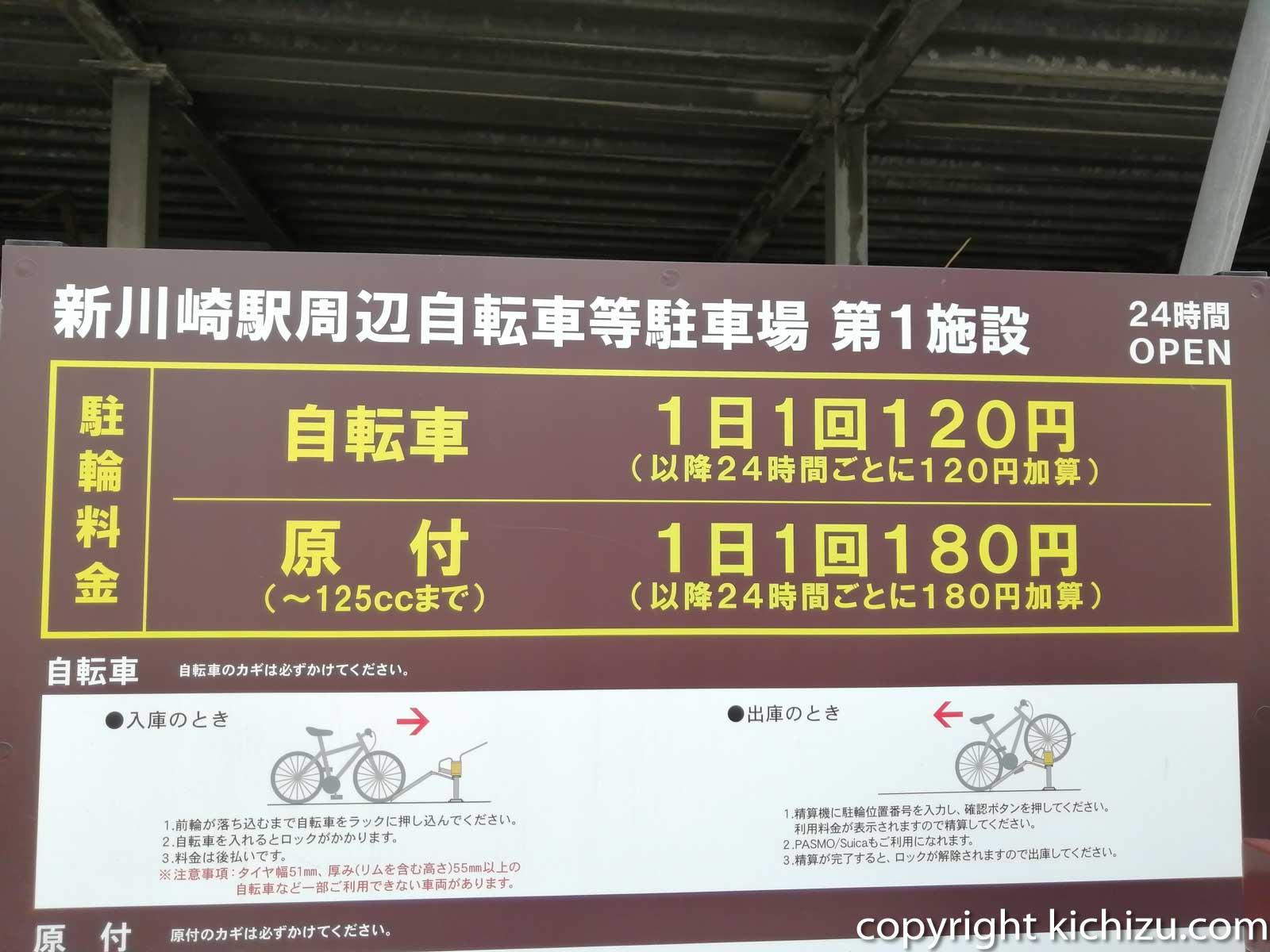 1日の駐車料金表