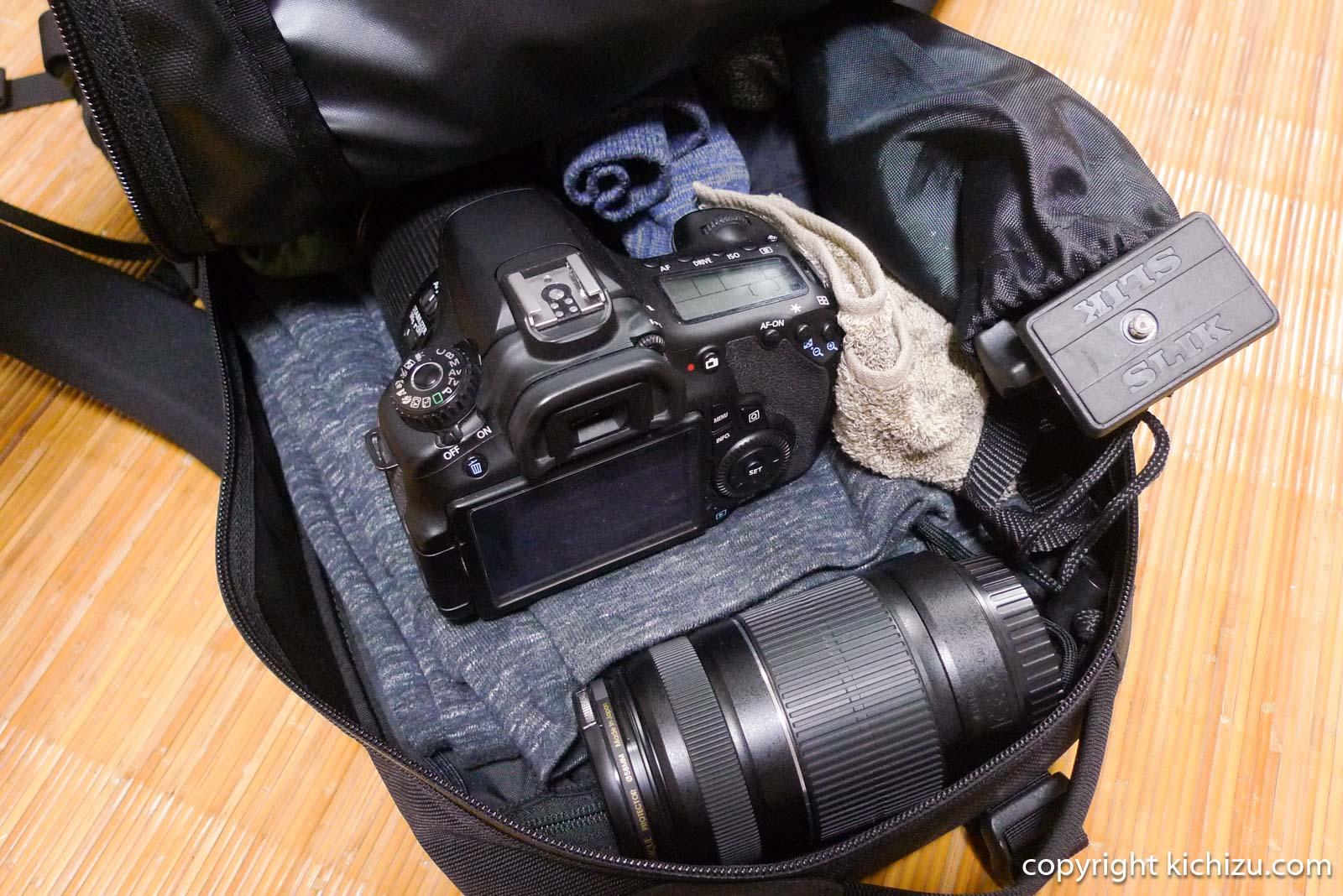 アークテリクス Arro22と一眼レフカメラ