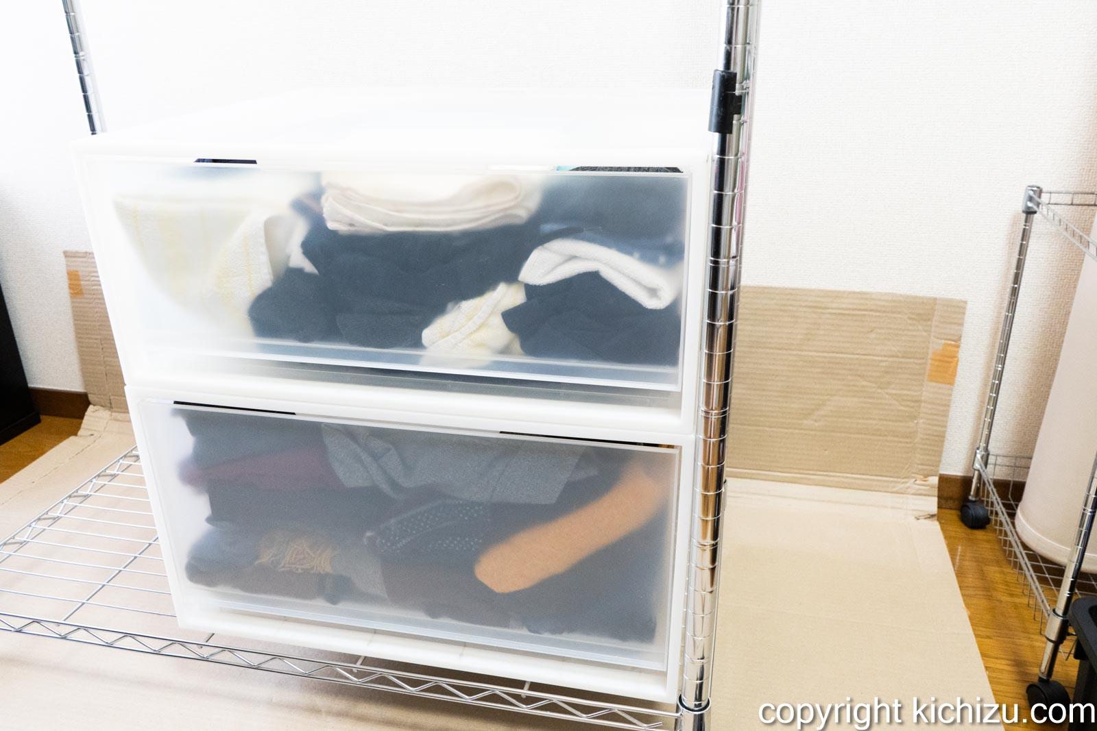 洋服ケースを置いて高さを測る
