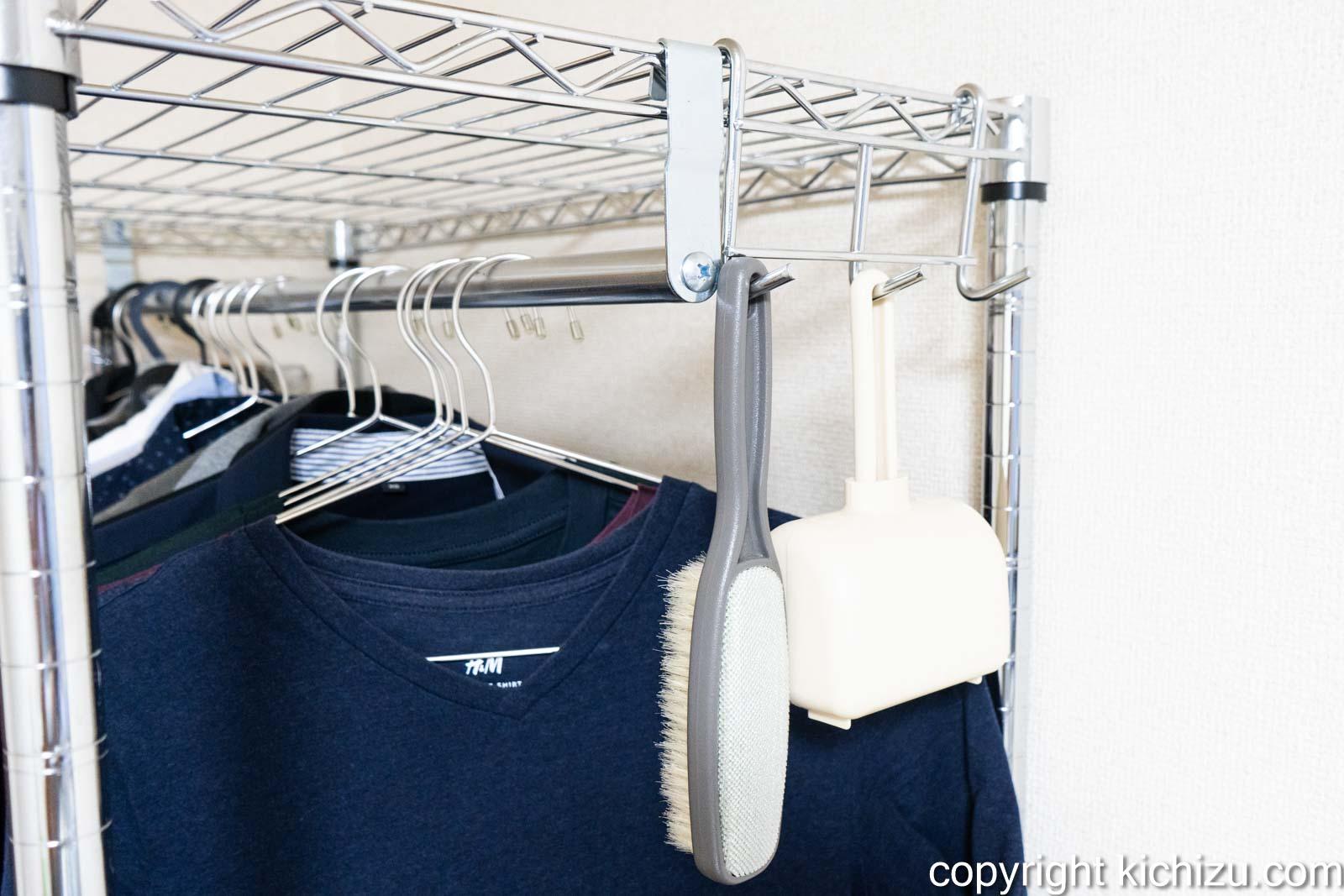 洋服棚にフックを取り付けた状態