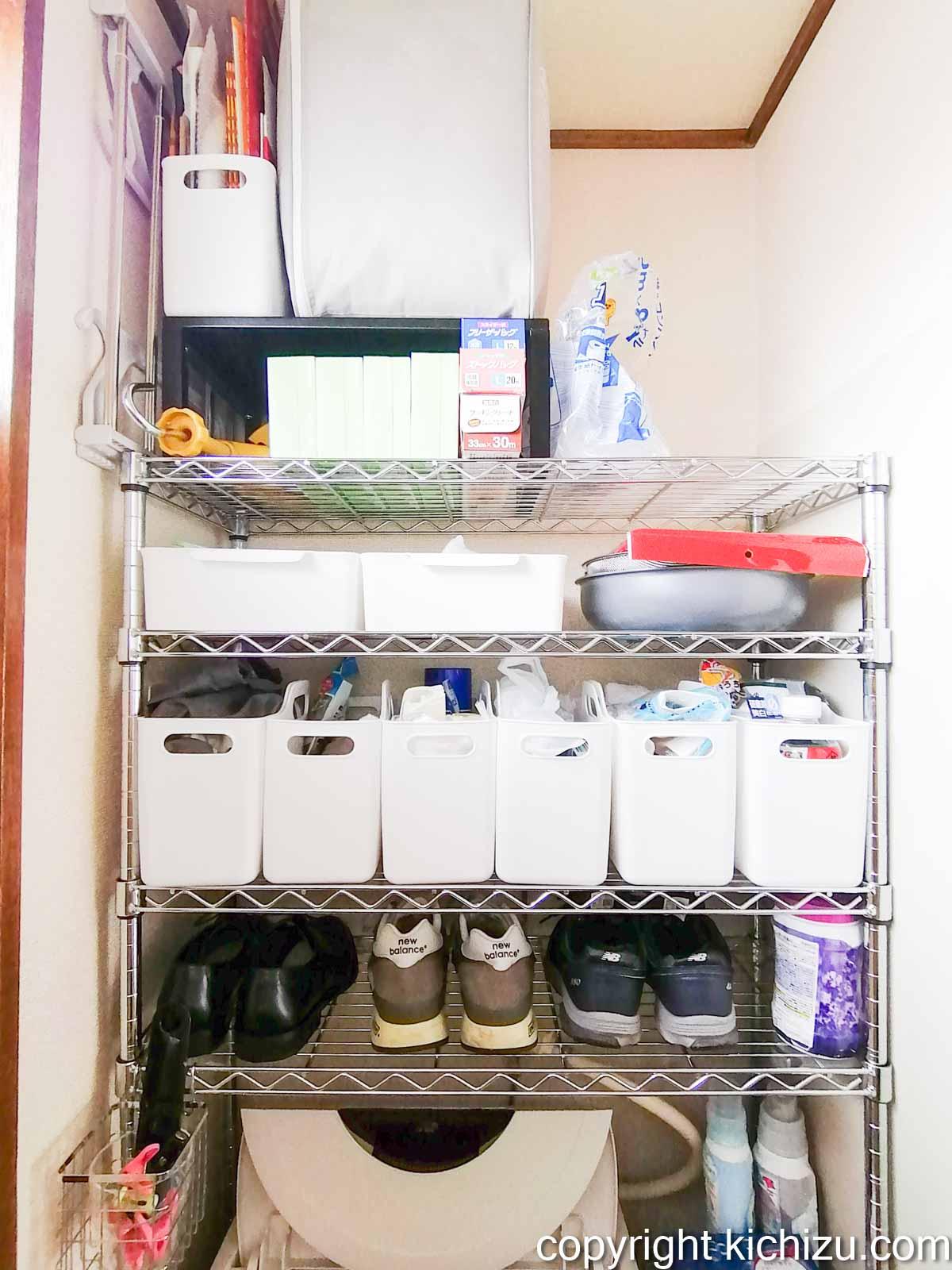 洗濯機の上にスペース棚が完成した