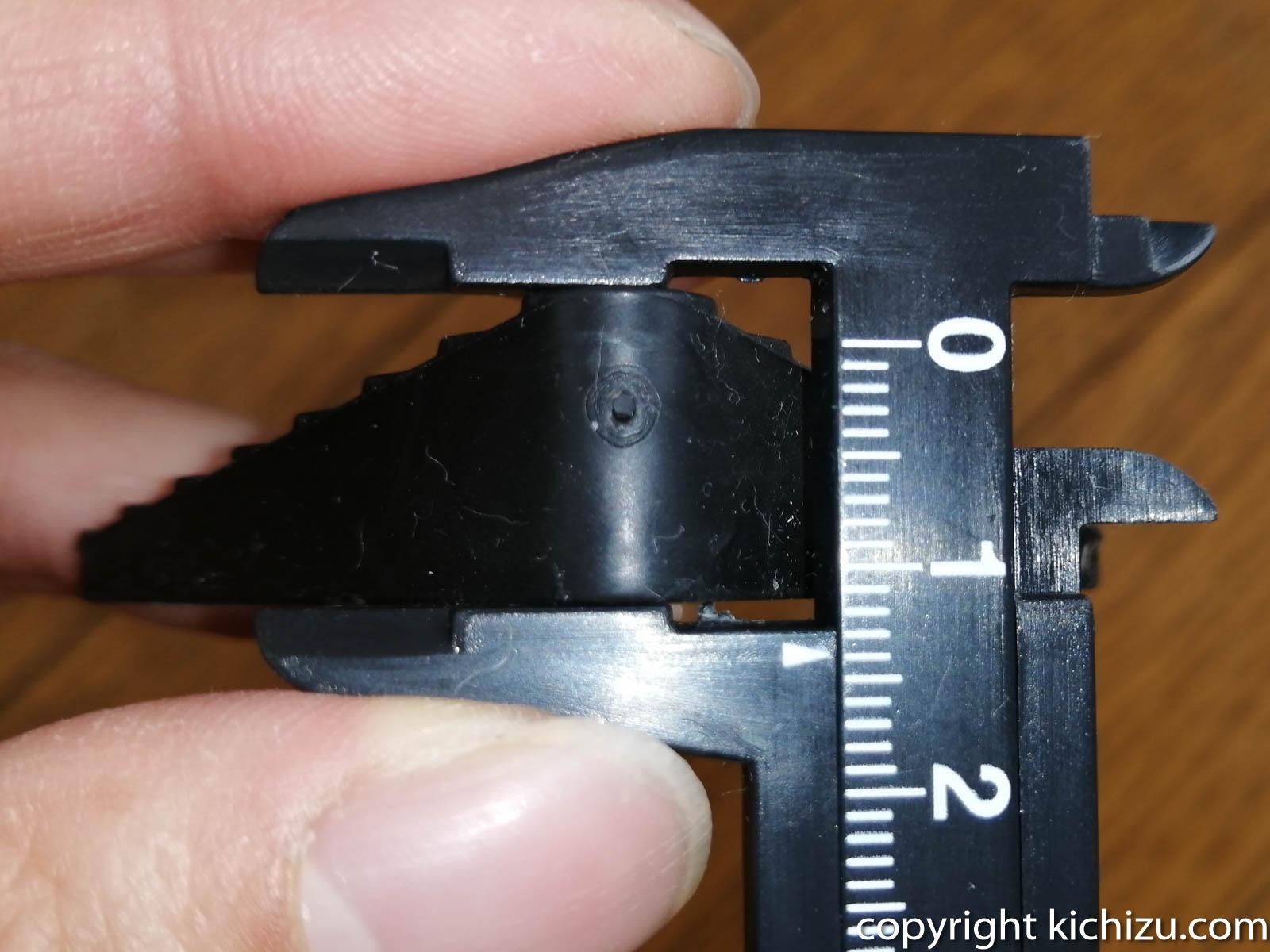 家具ストッパーの一番厚い部分