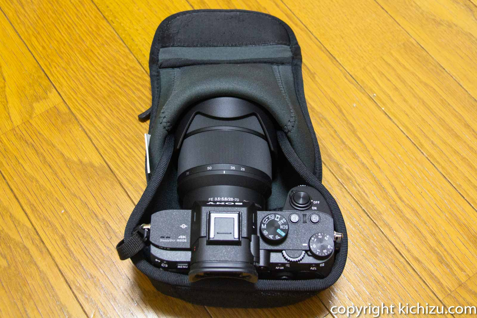 カメラケースM140にα7 IIIを入れた様子