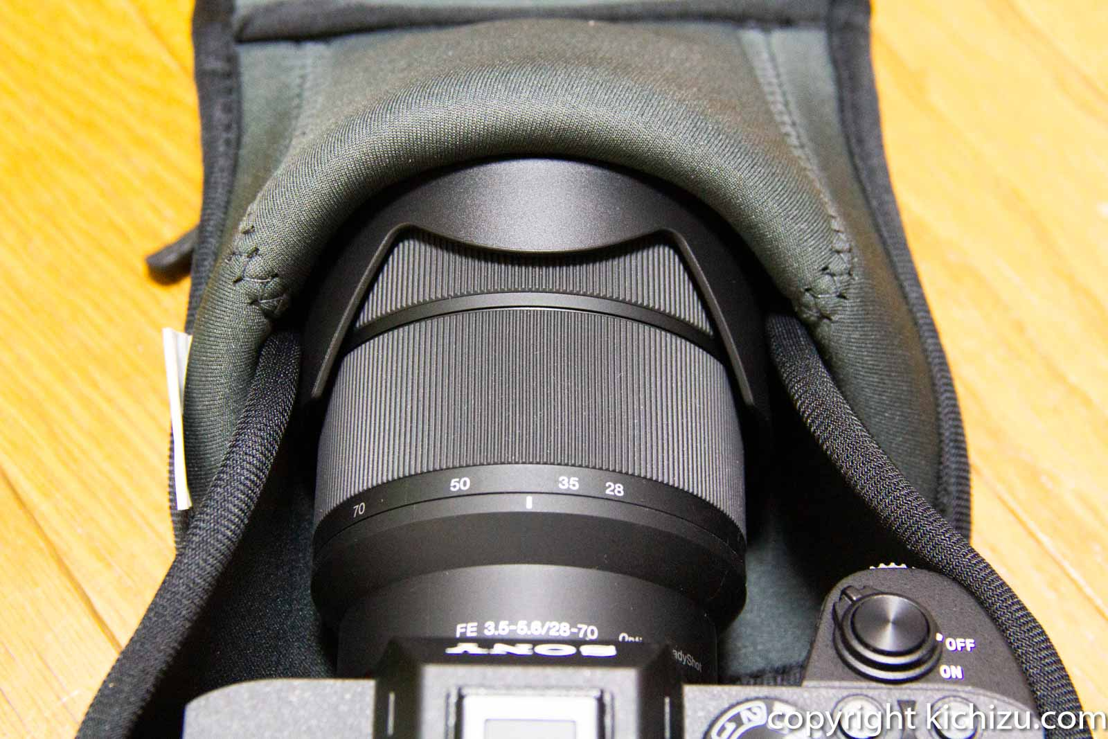 カメラケースとレンズ先端