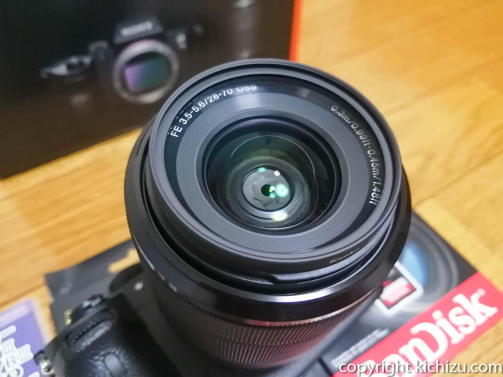 レンズに装着した55mm レンズフィルター PRO1D