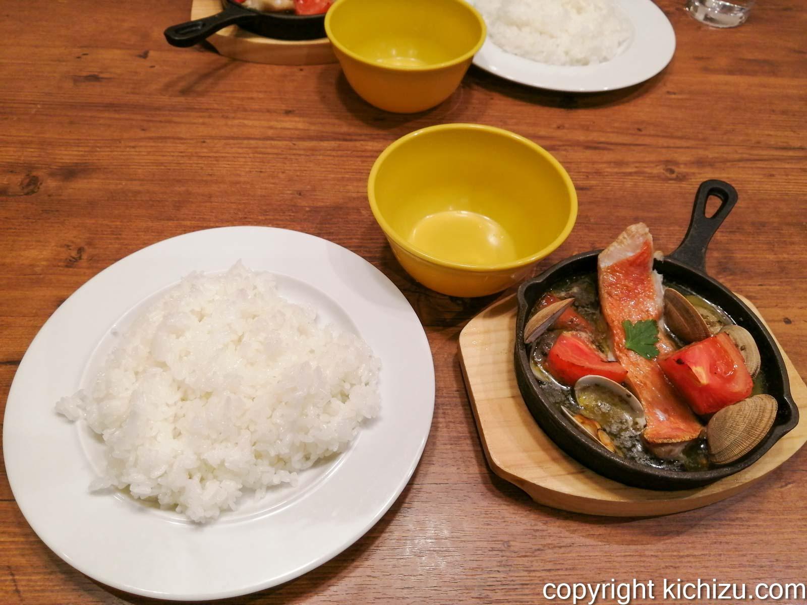 金目鯛のアクアパッツァとご飯