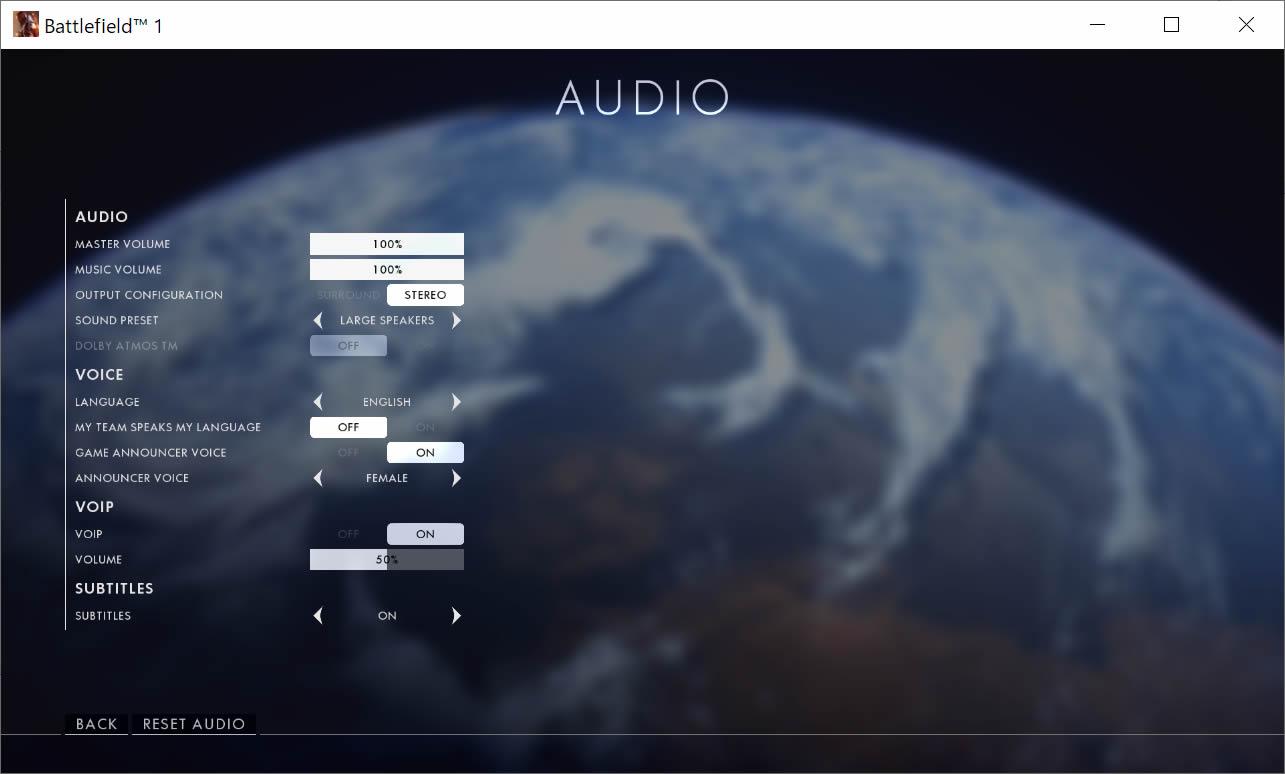 オーディオのオプション画面