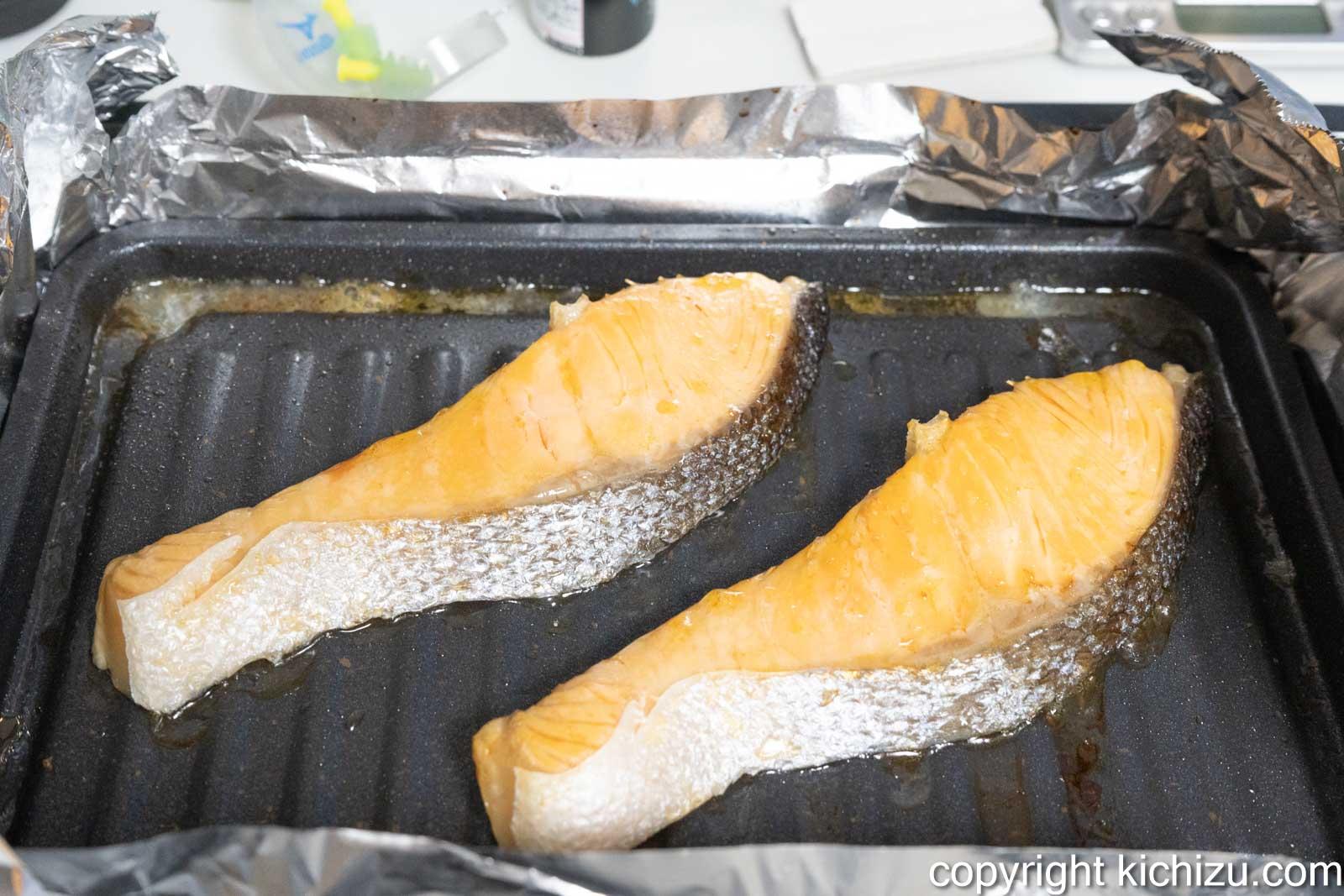 鮭が焼き終わった