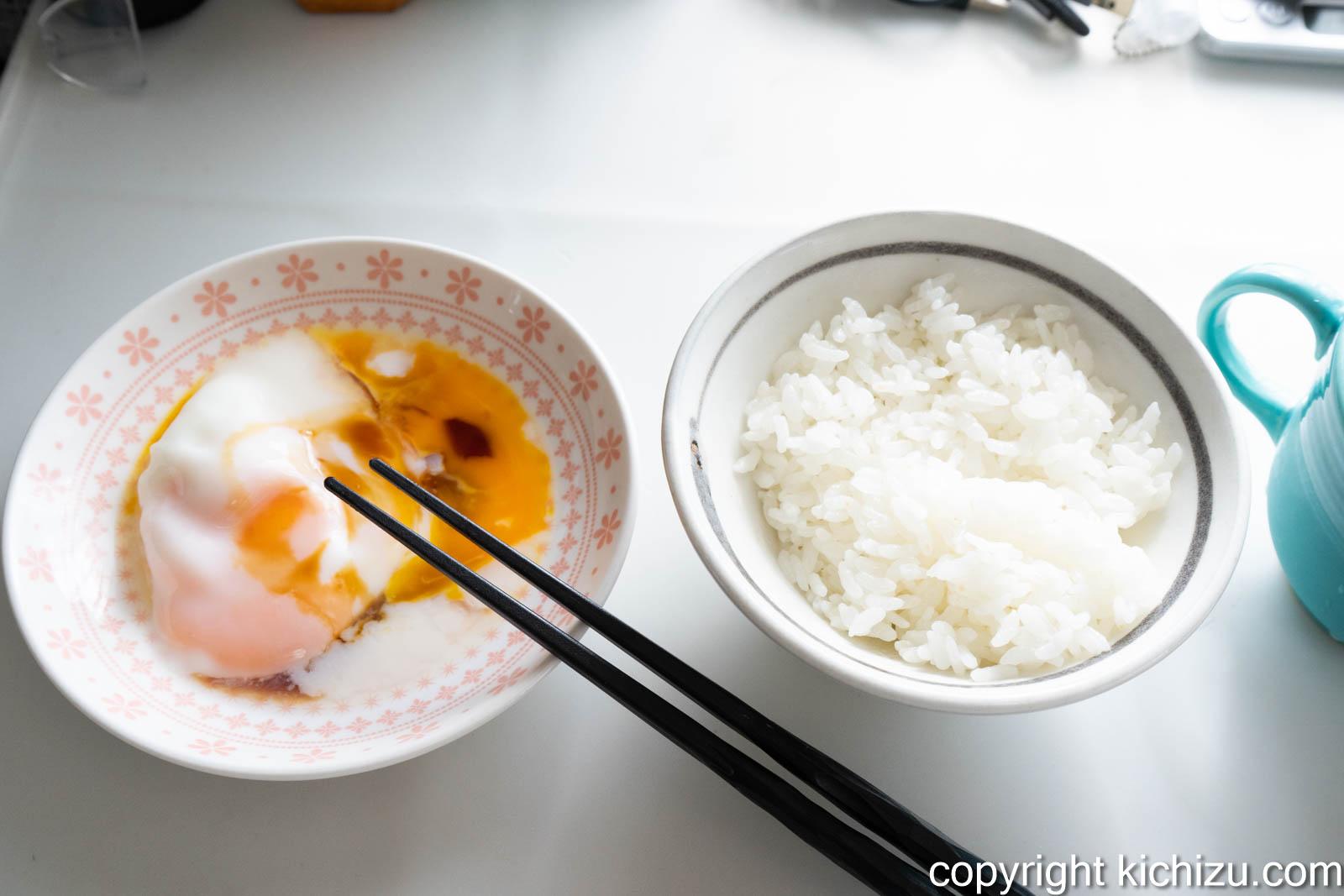 半熟卵と白ご飯